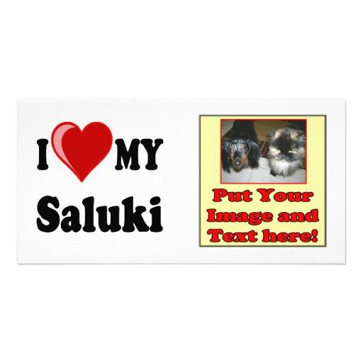 I Love (Heart) My Saluki Dog Customized Photo Card