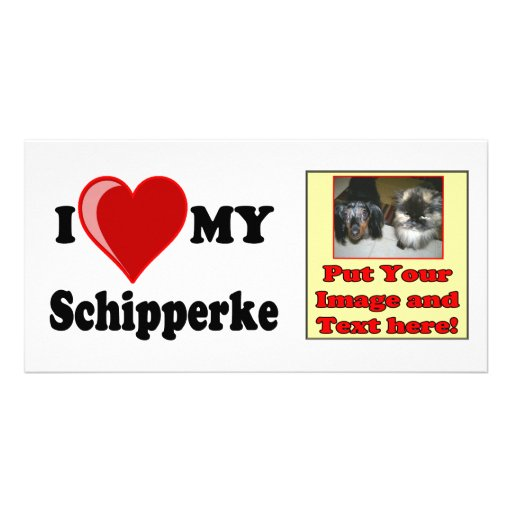 I Love (Heart) My Schipperke Dog Picture Card