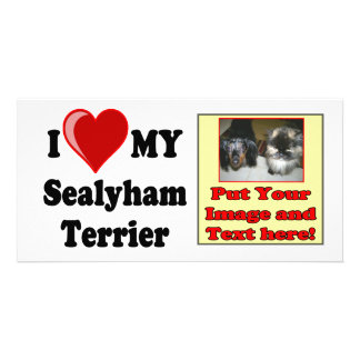 I Love (Heart) My Sealyham Terrier Dog Gifts Customized Photo Card