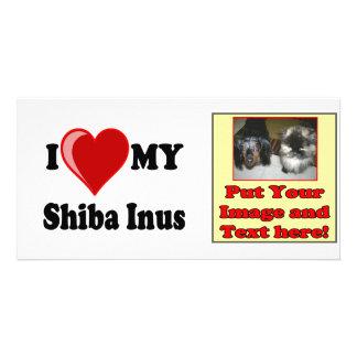I Love (Heart) My Shiba Inus Dog Personalized Photo Card