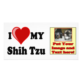 I Love (Heart) My Shih Tzu Dog Personalized Photo Card