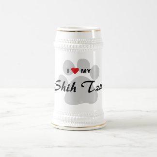 I Love Heart My Shih Tzu Pawprint Coffee Mugs