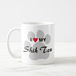 I Love (Heart) My Shih Tzu Pawprint Basic White Mug