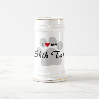 I Love (Heart) My Shih Tzu Pawprint 18 Oz Beer Stein