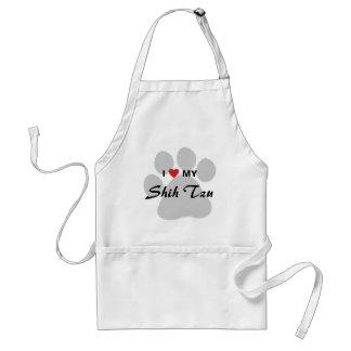 I Love (Heart) My Shih Tzu Pawprint Standard Apron