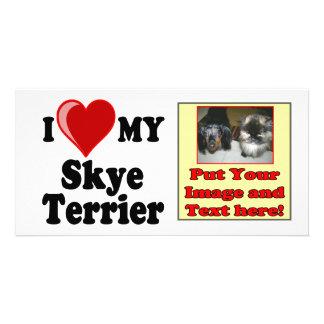 I Love (Heart) My Skye Terrier Dog Customized Photo Card