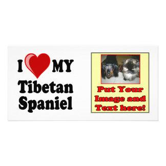 I Love (Heart) My Tibetan Spaniel Dog Photo Cards