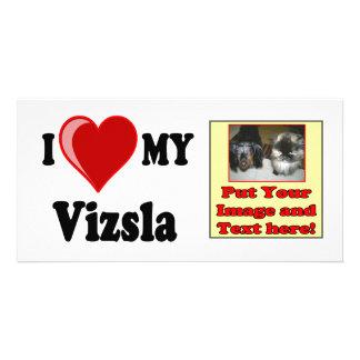 I Love (Heart) My Vizsla Dog Photo Card Template