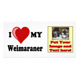 I Love (Heart) My Weimaraner Dog Photo Card
