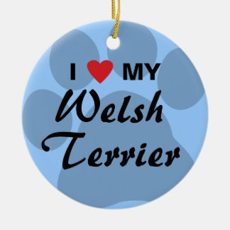 I Love (Heart) My Welsh Terrier Round Ceramic Decoration