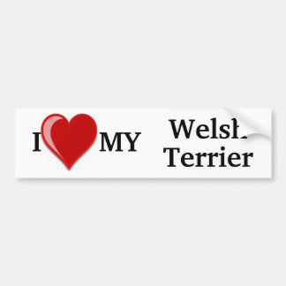 I Love (Heart) My Welsh Terrier Dog Bumper Stickers