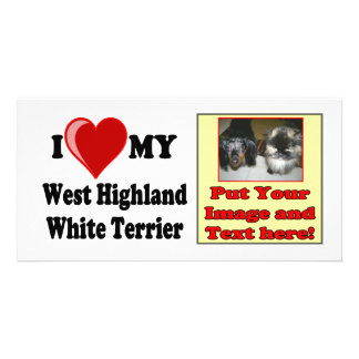 I Love (Heart) My West Highland White Terrier Dog Personalized Photo Card