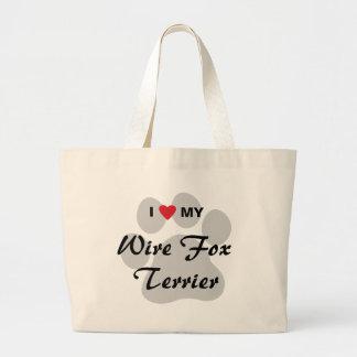 I Love (Heart) My Wire Fox Terrier Jumbo Tote Bag