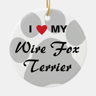I Love (Heart) My Wire Fox Terrier Round Ceramic Decoration