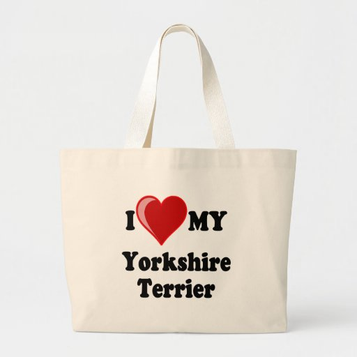 I Love (Heart) My Yorkshire Terrier Dog Canvas Bag