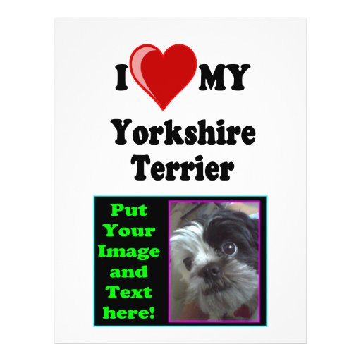 I Love (Heart) My Yorkshire Terrier Dog Personalized Flyer
