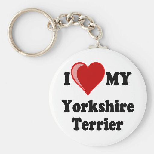 I Love (Heart) My Yorkshire Terrier Dog Keychains