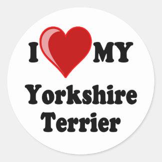 I Love (Heart) My Yorkshire Terrier Dog Round Stickers