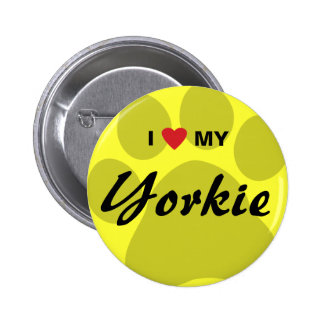 I Love Heart My Yorkshire Terrier Yorkie Pawprint Button