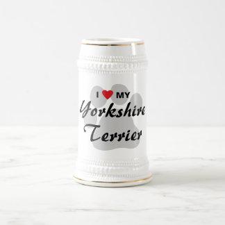 I Love(Heart) My Yorkshire Terrier/Yorkie Pawprint Beer Steins