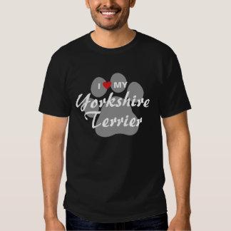 I Love(Heart) My Yorkshire Terrier/Yorkie Pawprint T-shirt