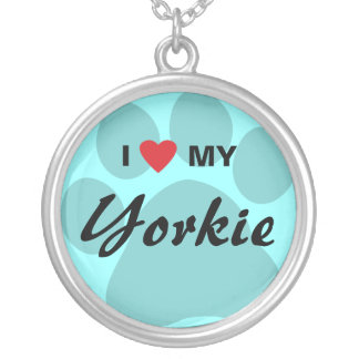 I Love(Heart) My Yorkshire Terrier/Yorkie Round Pendant Necklace