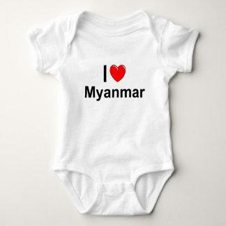I Love Heart Myanmar Baby Bodysuit