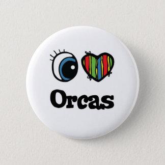 I Love (Heart) Orcas 6 Cm Round Badge