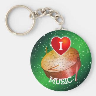 I Love (Heart) Pan Music Key Ring