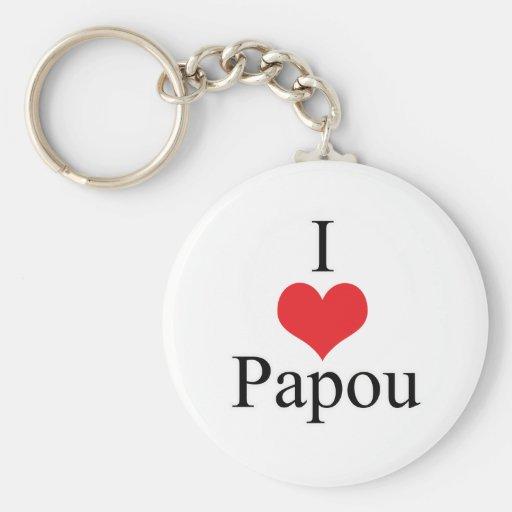 I Love (Heart) Papou Key Chain