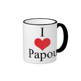 I Love (Heart) Papou Ringer Mug