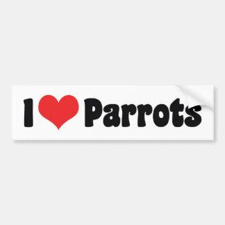 I Love Heart Parrots - Parrot Bird Lover Bumper Sticker