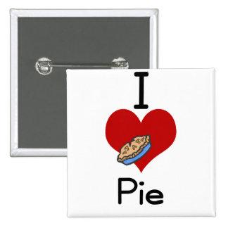 I love-heart pie 15 cm square badge