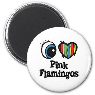 I Love (Heart) Pink Flamingos Magnet