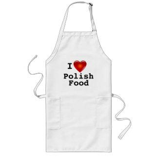 I Love Heart Polish Food Long Apron