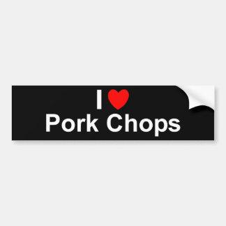 I Love Heart Pork Chops Bumper Sticker