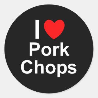 I Love Heart Pork Chops Classic Round Sticker