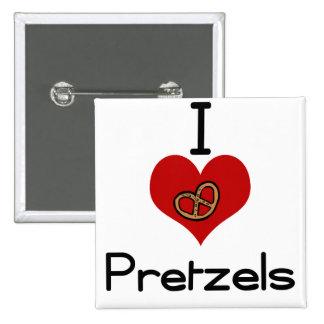 I love-heart pretzel 15 cm square badge