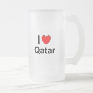 I Love Heart Qatar Frosted Glass Beer Mug