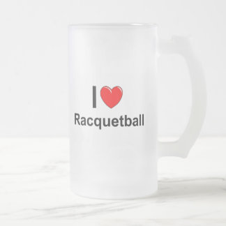I Love Heart Racquetball Frosted Glass Beer Mug