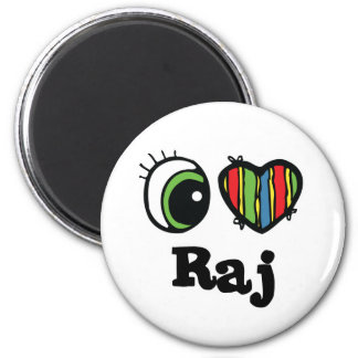 I Love (Heart) raj 6 Cm Round Magnet