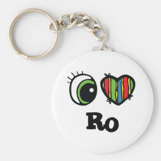I Love (Heart) Ro Basic Round Button Key Ring
