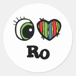 I Love Heart Ro Round Stickers