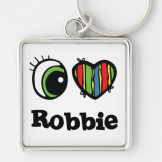 I Love (Heart) Robbie Silver-Colored Square Key Ring