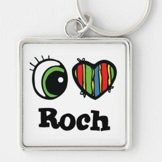 I Love (Heart) Roch Silver-Colored Square Key Ring