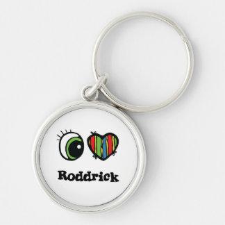 I Love (Heart) Roddrick Silver-Colored Round Key Ring