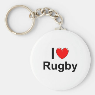 I Love Heart Rugby Key Ring