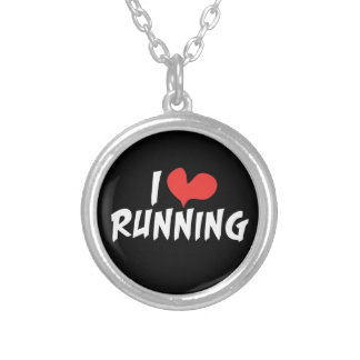 I love (heart) Running Silver Plated Necklace