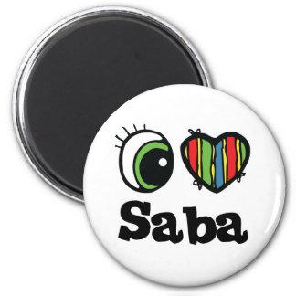 I Love (Heart) Saba 6 Cm Round Magnet