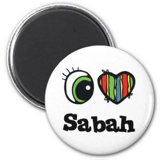 I Love (Heart) Sabah 6 Cm Round Magnet